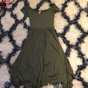 Olive green off the shoulder midi Dress
